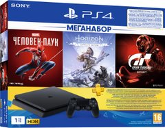 Ігрова приставка Sony PlayStation 4 Slim (1TB) Black + GTS+HZDS+Spider Man +PSPlus 3М