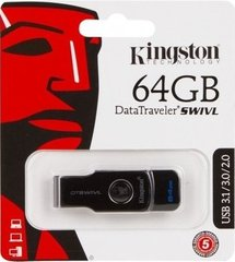 USB3.0 Flash Drive Kingston 64 Gb DT SWIVL (Metal / color) (DTSWIVL / 64GB)