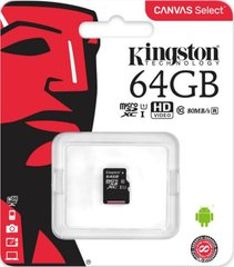 Карта пам'яті Kingston 64 GB microSDHC class 10 UHS-I Canvas Select (SDCS / 64GBSP)