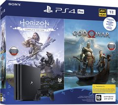 Ігрова приставка Sony PlayStation 4 Pro (1TB) Black + God of War & Horizon Zero Dawn CE