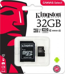 Карта пам'яті Kingston 32 GB microSDHC class 10 UHS-I Canvas Select (R-80MB / s) (SDCS / 32GB)